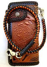 Harley Davidson Leather Biker Wallet Motorcycle Trucker braided Chain BrownBlack