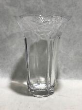 """Crystal Glass  Vase 7 3/4 """"  Etched  Flower Boarder Top Scalloped Vase"""