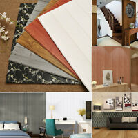 Large 3D Tile Wood Wall Sticker Self-adhesive Waterproof Foam Panel Wallpaper