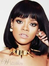 100% Real Hair!Elegant Rihanna Medium Straight Capless Hair Wig
