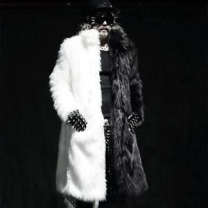 Mens Black Gothic Splicing Fur Clothing Black Coats Jackets Outwears Parka New