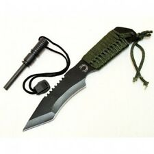 New Survival Camping Hunting Knife Black with Steel Flint Fire Starter w/ Sheath