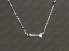 925 Sterling Silver Arrow Necklace Archery Bow Cupid Sideways Horizontal Pendant