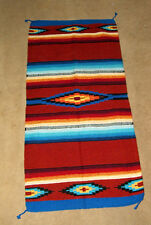 """Saltillo Mexican Throw Rug Tapestry Southwestern 32x64"""" Acrylic RUSTY BROWN"""