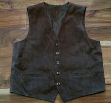Leather Suede button Vest Men Medium Western Cowboy Motorcycle Biker Rockabilly
