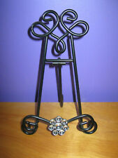 Black Metal Photo Easel With Jewel Flower