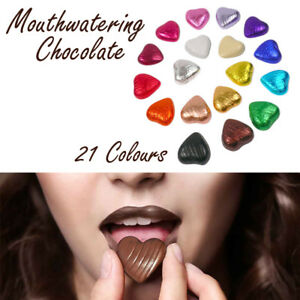 Hearts Shaped Foiled Milk Chocolate Quality Weddings Parties, 21 Colours 1-100pc