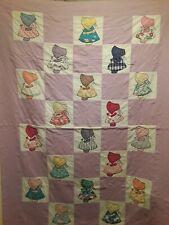 """New listing Vintage Handmade Sun Bonnet Applique Quilt/Coverlet 20 Blocks 72"""" L x 51 1/2"""" W"""