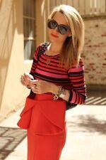 Stylemint VENEZIA Nuovo di zecca Stripe Tee Rosa Rosso Nero Taglia 1 XS S Blogger