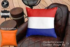 """NETHERLAND FLAG COLOUR LEATHER 1X EXCLUSIVE LUXURY CUSHION 18""""x18"""" ORANGE BACK"""