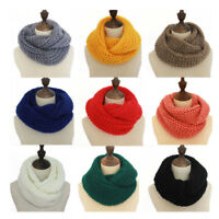 Women Girls Winter Warm Unseen Circle Cable Knit Cowl Neck Long Scarf Shawl