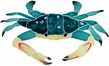 "Mosaic Blue Crab for Swimming Pool or Wall - 12"" x 7"" *Free Shipping*"