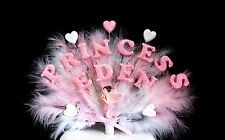 Double Name PRINCESS Fairy and Heart  Feather Birthday/Christening Cake Topper