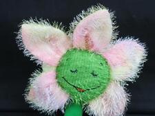 WALMART SPRINGTIME DAISY FLOWER PINK YELLOW-GREEN BIG SMILE EYES CLOSED PLUSH