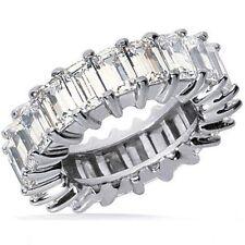 12.75 carat Emerald Cut Diamond Eternity Band Platinum Ring F VS 17 x .75 size 9