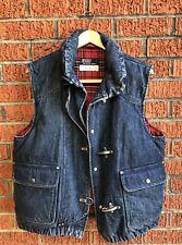 Perfect Vintage Polo Ralph Lauren Fireman Metal Clasp Denim Jean Down Vest Rare!