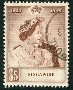 Singapore KGVI 1948 Silver Wedding $5 SG 32 used (cat. £50)