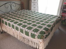 BEDSPREAD   Wool  Open  CROCHET  Green  HAND MADE   QUEEN Size   222 cm x 174 cm