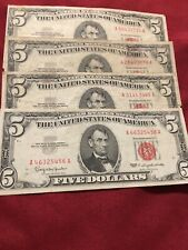 $5 Five Dollar Us Currency *4* Note Set / Collection 1963 Red Star