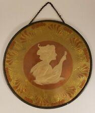 "Antique Flue Cover - Woman Mandolin Embossed - 7 3/4"" Frame"