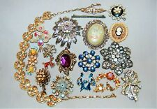 Vintage Rhinestone Jewelry Brooches Necklace Bluebirds Repair Estate Craft Lot