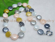 14MM Multi-colored Coin SOUTH SEA SHELL PEARL NECKLACES 18.5''