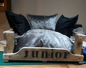 Medium personalised wooden dog/cat bed with luxury crushed velvet cushions