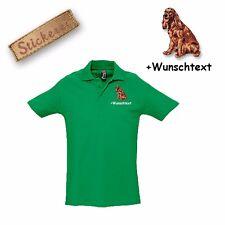 Camiseta Polo Algodón Bordado Irlandés Rojo Setter + Texto personalizado