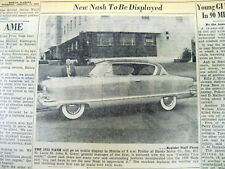 """1953 newspaper with early photo of the new NASH """"Country Club"""" model automobile"""