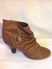 Faith Brown Ankle Leather Boots Size 5