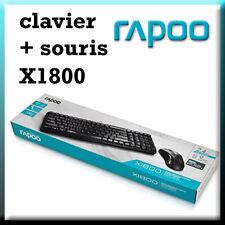 CLAVIER AZERTY Français SOURIS noir RAPOO combo set X1800 SOURIS SANS FIL !