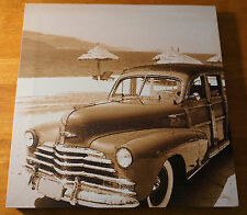 Rustic Vintage Woody Beach Wagon Surfing Surfboard Surfer Home Decor Photo Sign