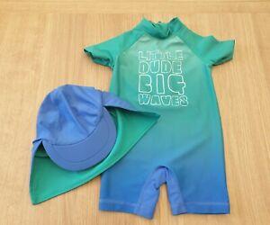 Baby Boys Next Swim Sun Suit Set with Legionnaires Hat Size 12-18 Months Beach