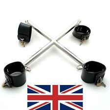 LEATHER Hogtie-X SHAPED SPREADER BAR RESTRAINTS, 4 PADLOCKS, UK BASED, FAST SHip