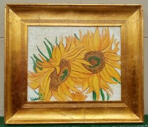 ANTIQUE OIL ON CANVAS BY VAN GOGH DATED 1880 WITH FRAME IN GOLDEN LEAF NICE GOOD