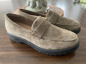 Clarks Womens Bellevue Hazen Olive Tan Suede Loafers Size 8M