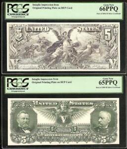 1896 $5 DOLLAR EDUCATIONAL CERTIFICATE INTAGLIO IMPRESSION BEP CARD PCGS 66 65