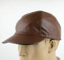 New Gucci Brown Leather Baseball Cap Hat with Script Logo 368361 2138
