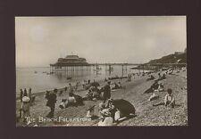 Kent FOLKESTONE The Beach & pier close up beach scene c1900s? RP PPC pub Polden