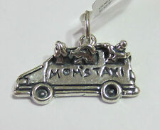 Genuine Sterling Silver 925 Charm Pendant - Moms / Mums Taxi - NEW