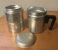 "Vintage Aluminum Salt Or Powdered Sugar Shaker With Handle Metal 4 3/4"" BH3"