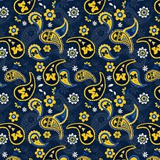 Michigan Wolverines Ncaa Newest Paisley Bandana Cotton Fabric-$9.49/yard