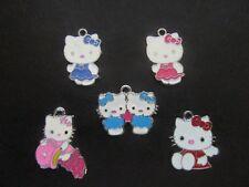 5 x Hello Kitty Émail Métal Pendentifs Charms Chat Chaton
