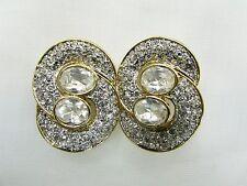 18k GP Interlocking Circle Swarovski Element Austrian Crystal Clip On Earrings