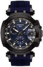 NEW TISSOT T1154173704100 T-RACE CHRONO BLACK PVD BLUE RUBBER T115.417.37.041.00