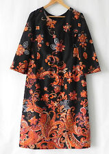 Vtg Dress Multi-Color Floral 3/4 Bell Sleeve Size L/XL
