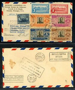 Nicaragua 75th Ann Postal History: LOT #24 1941 GARANADA - NYC - MIAMI $$$