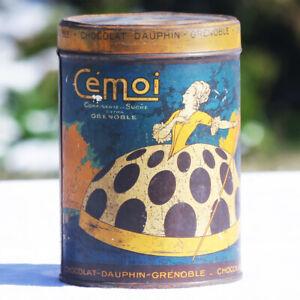 """Ancienne boîte publicitaire Cémoi Chocolat Dauphin en tôle modèle """"marquise"""""""