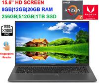 "2020 ASUS VivoBook 15.6"" FHD Laptop Ryzen 7 (>i7-7500U) to 4GHz,20GB RAM&1TB SSD"