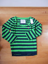 NWT Abercrombie & Fitch Andrea Tee Top Small Green navy Stripes By Hollister